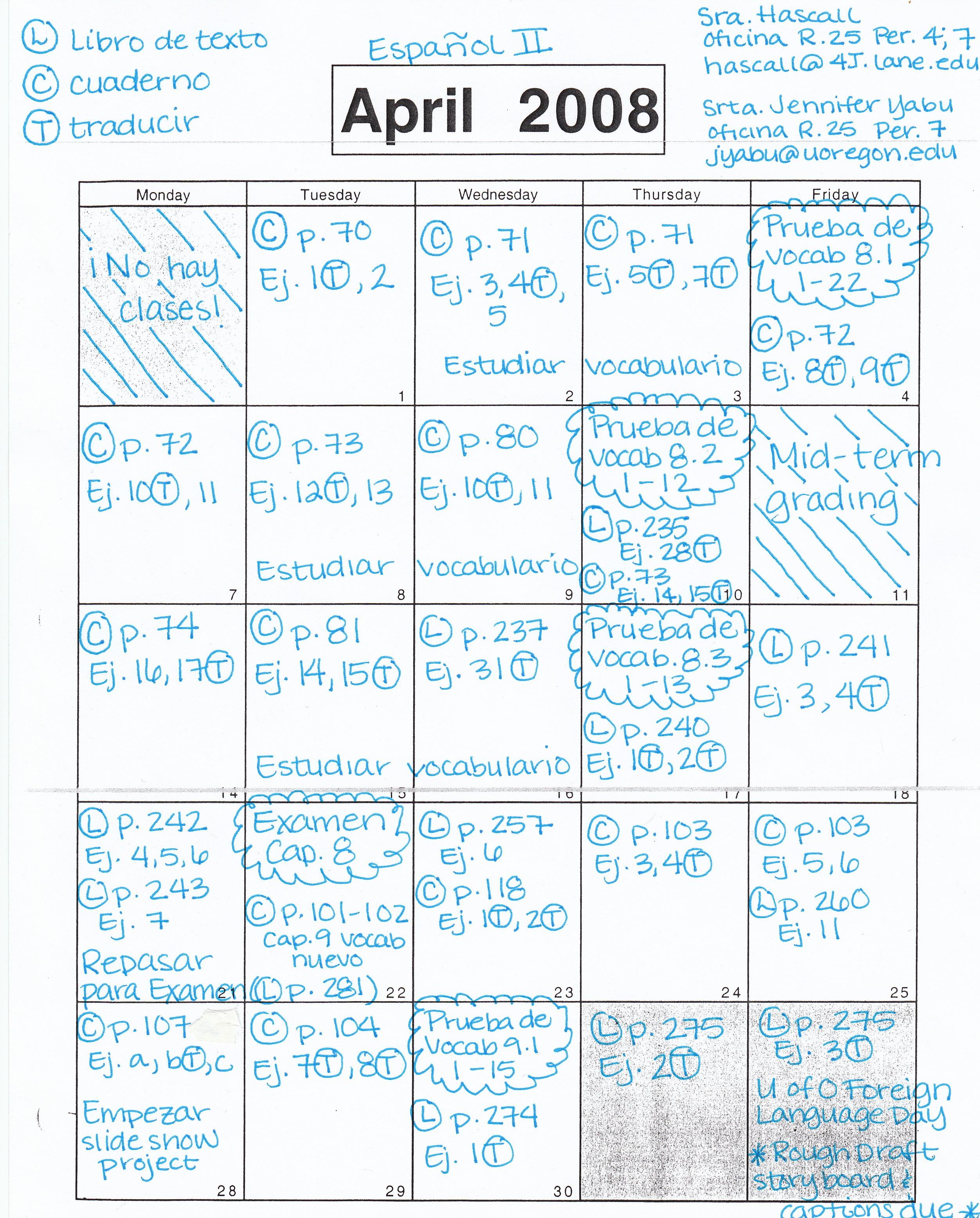 Barbara Hascall S Huc Spanish Ii April Homework Calendar